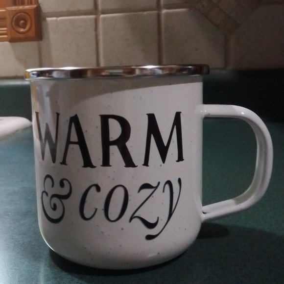 "Threshold porcelain enamelware mug ""WARM & cozy"""